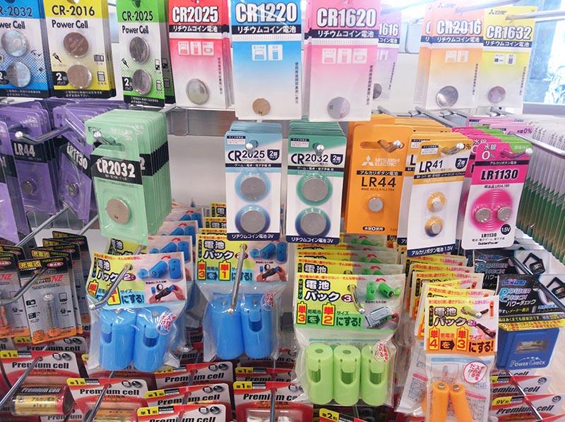 100円ショップSeriaの電池コーナー