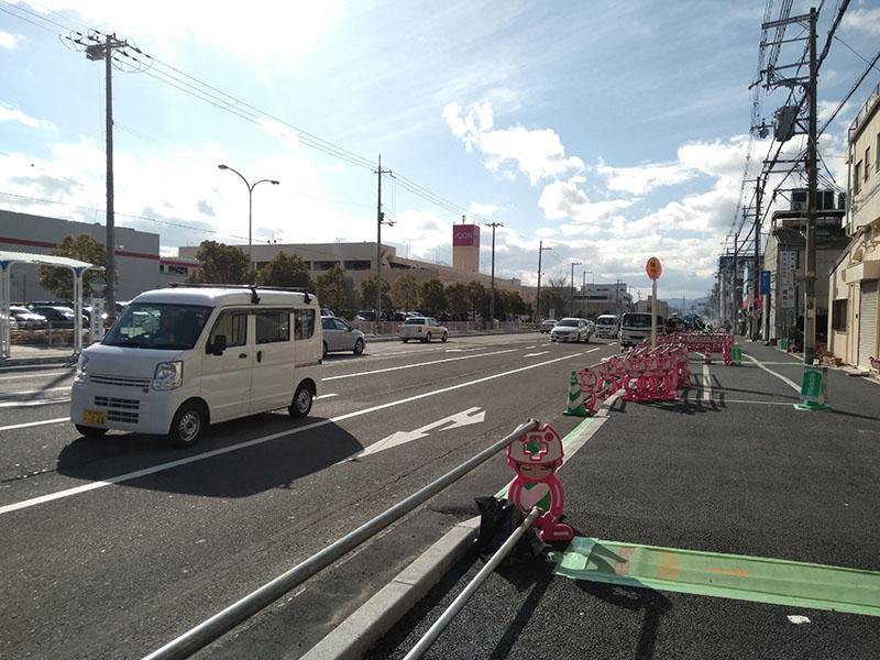 尼崎コストコ・イオン前自転車レーン増設工事中