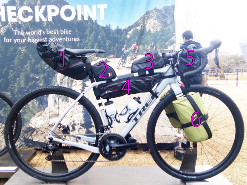 バイクパッキングのバッグ例