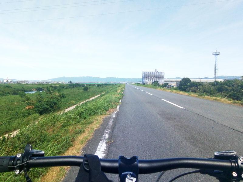 宇治川沿いの土手上の道