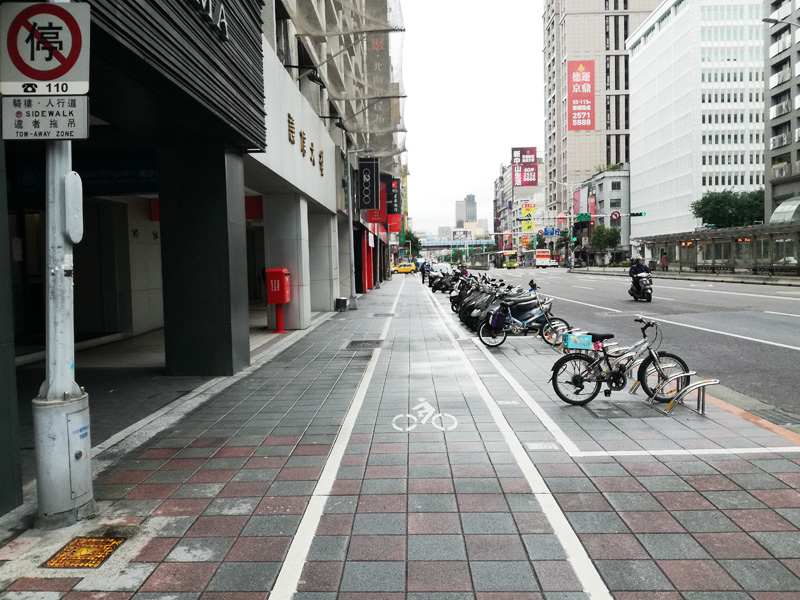 台北歩道の自転車レーン