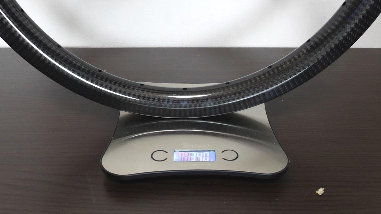 BMX用カーボンリムの重量