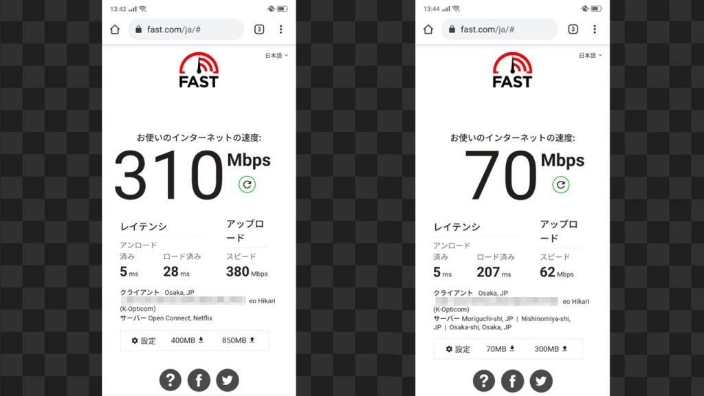 eo光10ギガコース Wifi速度