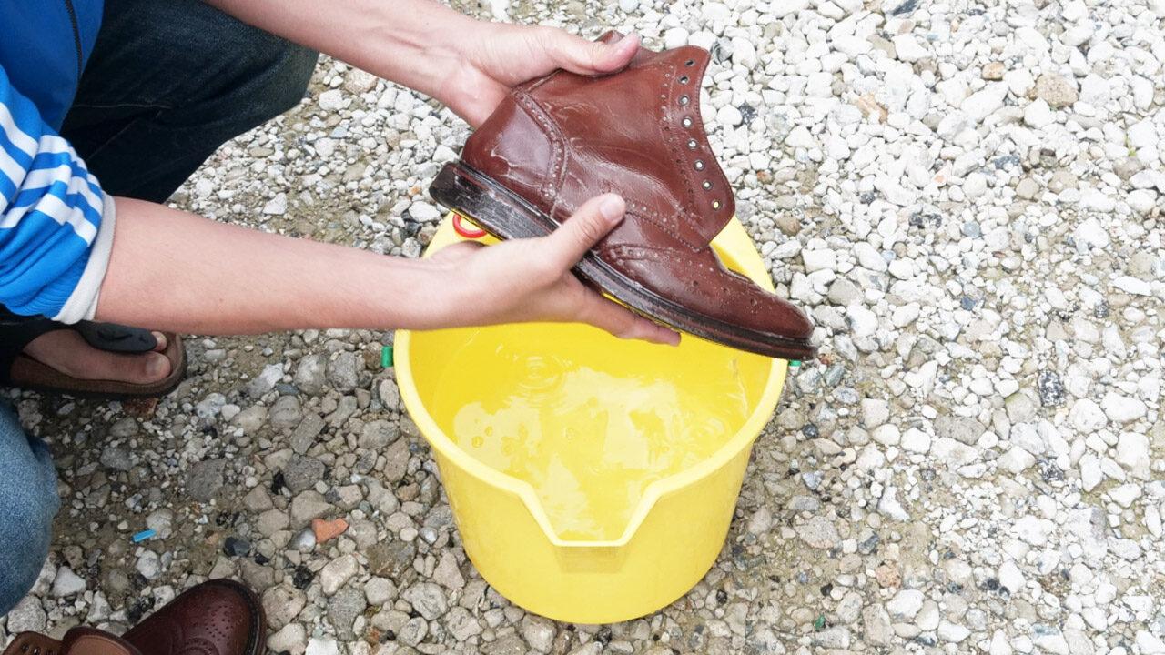 革靴の水洗い