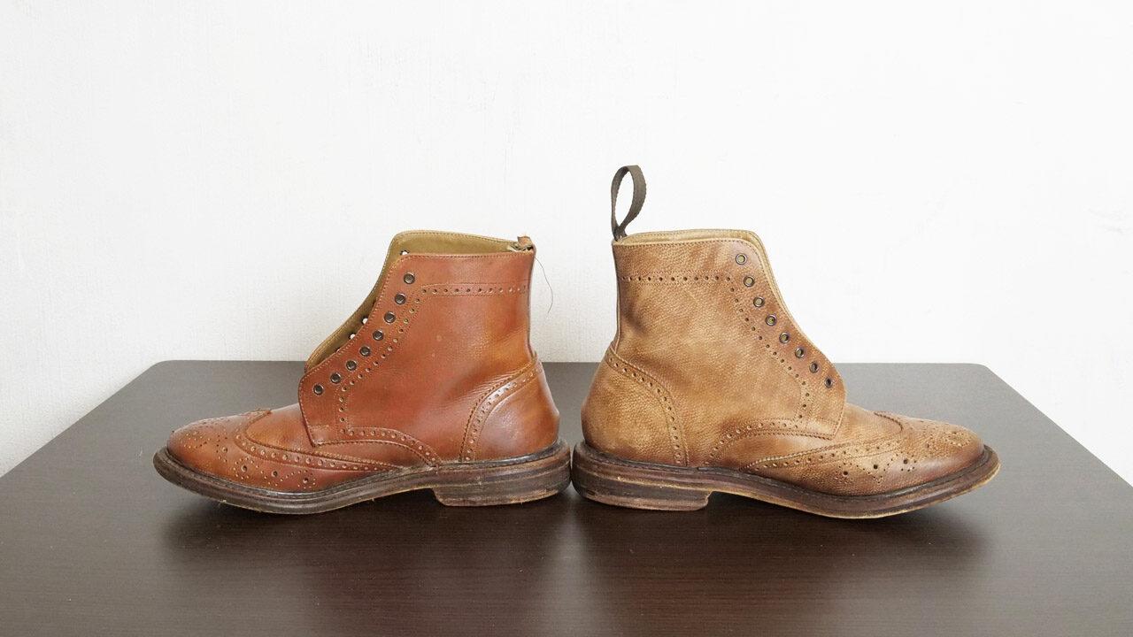 革靴左・クリームあり 右・クリームなし