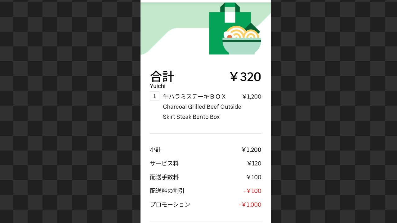 Uber Eats 注文の明細